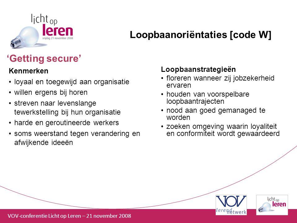 Loopbaanoriëntaties [code W]